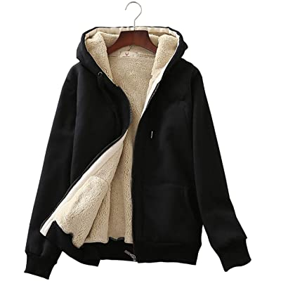 Flygo Womens Casual Winter Warm Sherpa Lined Full Zip Up Hoodie Sweatshirt Jacket: Clothing