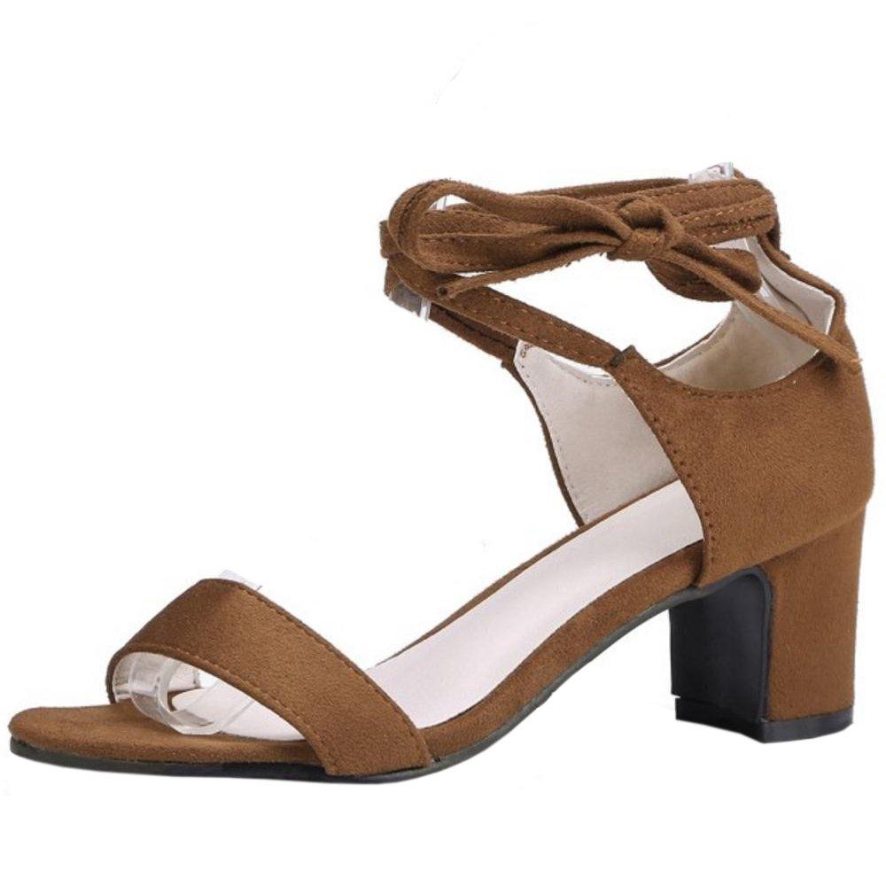 TAOFFEN Damen Schnurung Sandalen Sommer Schuhe Absatz  33 EU|Brown-2