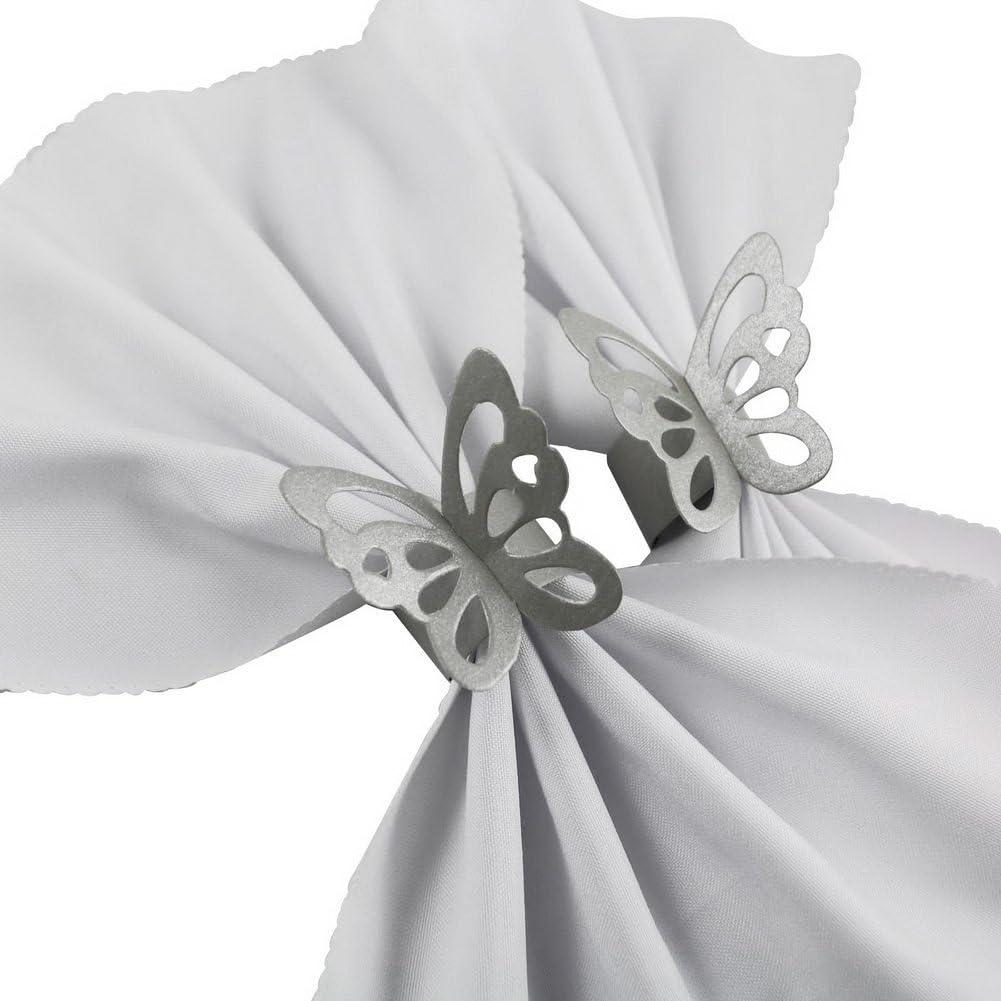 Blau 50 St/ück//Set ASOSMOS Sch/ön Schmetterling Papier Servietten Ringe Vorr/äte f/ür Hochzeit Party Dekoration