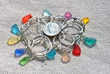 Expandable Ring with Variety Beach Sea Glass Art Beads & Adjustable Silver Plated Wire Wrapped Loop JCT ECO