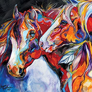 Westland Giftware Canvas Wall Art, Two Spirits Equine Canvas Art 15 by 15