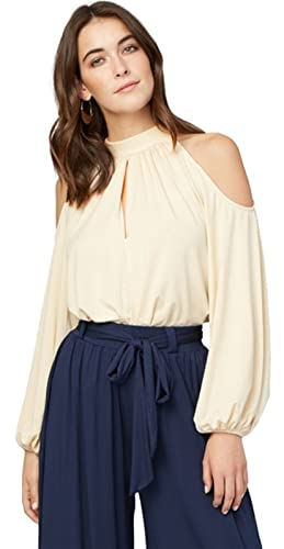 Moda Manga Larga Manga de Obispo Off The Shoulder Hombros al Descubiertos Aire Escote Bardot Cuello ...