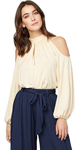 Moda Manga Larga Manga de Obispo Off The Shoulder Hombros al Descubiertos Aire Escote Bardot Cuello