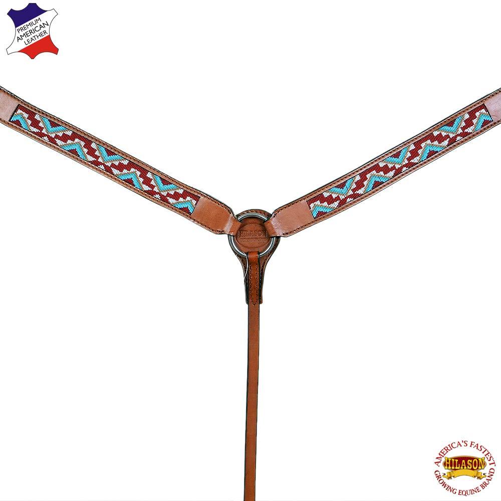 HILASON ウエスタン馬 胸襟 アメリカンレザー ブラウン アステカビーズ