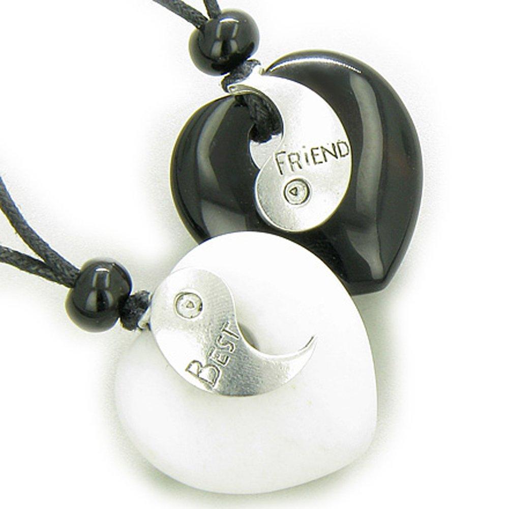 Lucky Best Friends Ying Yang White Snowflake Quartz Black Agate Hearts Gems Pendant Necklaces