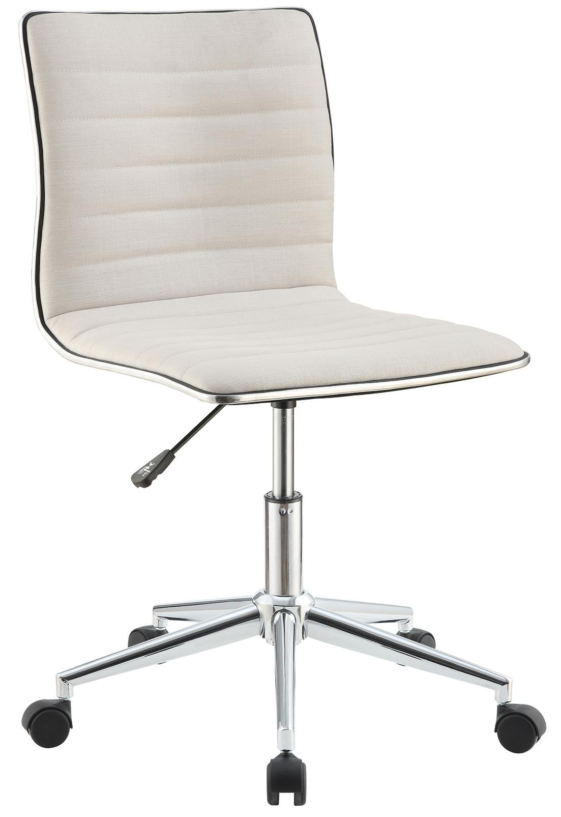 Coaster Modern White Sleek Home Office Chair with Chrome Base