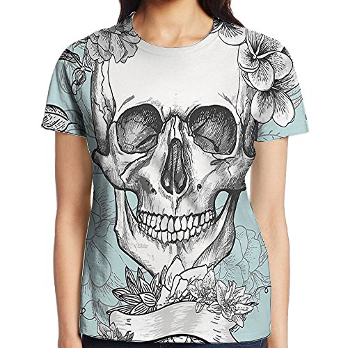 WuLion Skull and Flowers Day of The Dead Mexican Traditional Women's 3D Print T Shirt XXL -