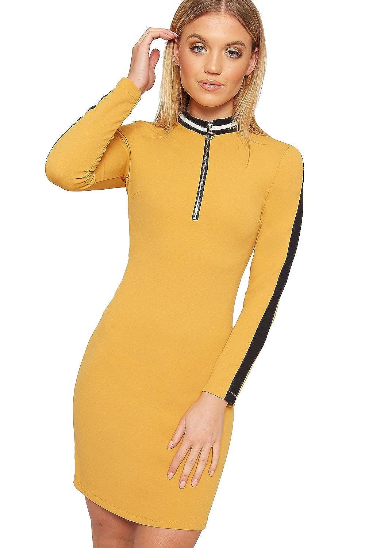 Wear All Women's Long Sleeve Contrast Striped Print Zip V Neck Bodycon Mini Dress by Wear All