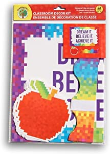 Teaching Tree Classroom Decor - Dream It Believe It Achieve It Pixel Theme - 23 Ct