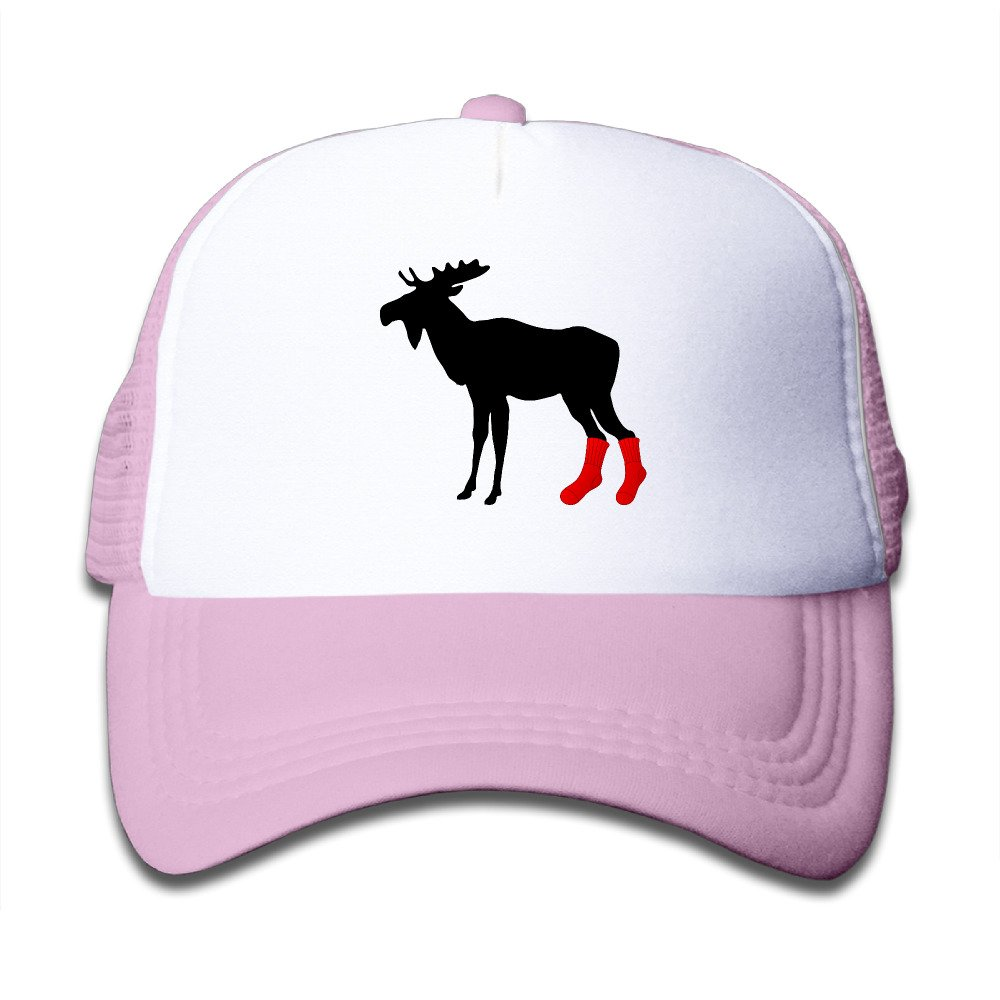 Cute Moose Wearing Socks Boys Girls Mesh Cap Trucker Caps Hat Adjustable Black