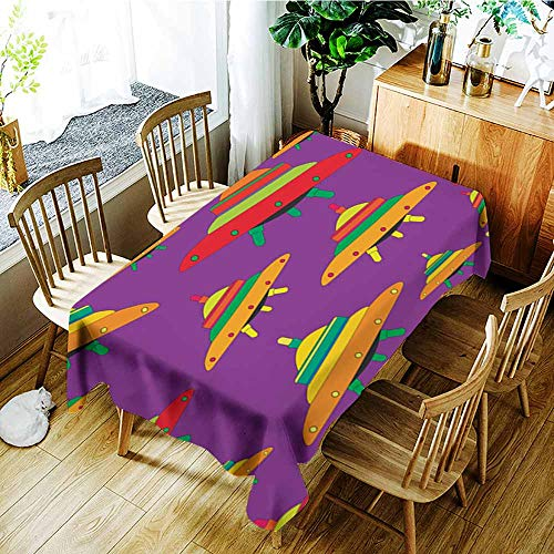 (AGONIU Custom Tablecloth,Flying Saucers Colorful Colors Seamless Alien Spaceship Pattern,Fashions Rectangular,W54x72L)