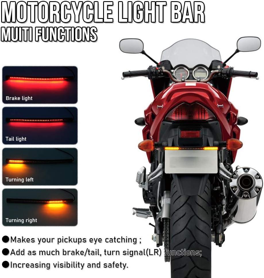 Universal LED Light Strip Brake Tail Stop Turn Signal Lights Waterproof 8 48-SMD Flexible LED Light Bar for Harley Davidson Scooter Cruiser Kawasaki Yamaha Suzuki