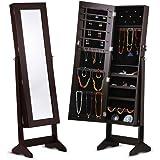 LANGRIA Lockable Jewelry Cabinet Armoire Mirrored Jewlery Holder Organizer Storage, 4 Angle Adjustable, Brown