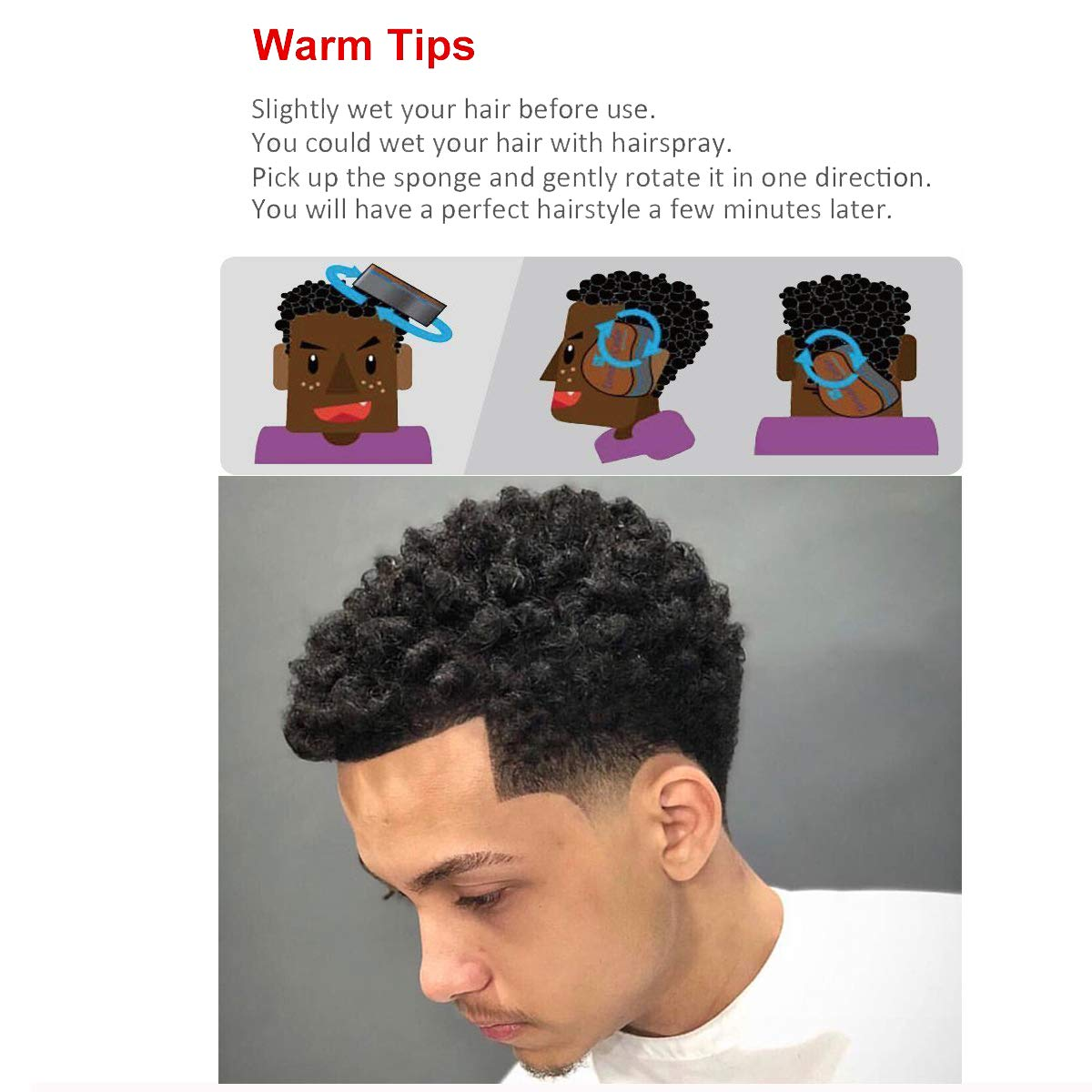 Women And Children Double Sided Barber Hair Brush Sponge Dreads Locking Twist Coil Afro Curl Wave Suitable For Men
