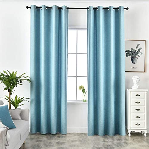 NAPEARL Curtain Panels Thermal Insulated Solid Window Draperies Grommet Top Blue, 52 Wx96 L