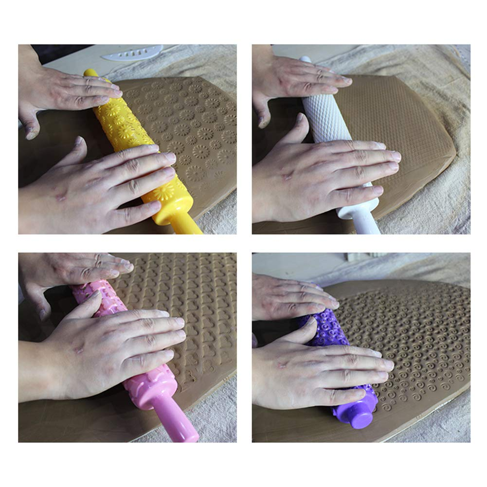 Dytiying 4Pcs//Set Plastic Handle Pottery Tools Set Colorful Clay Modeling Pattern Roller Kit