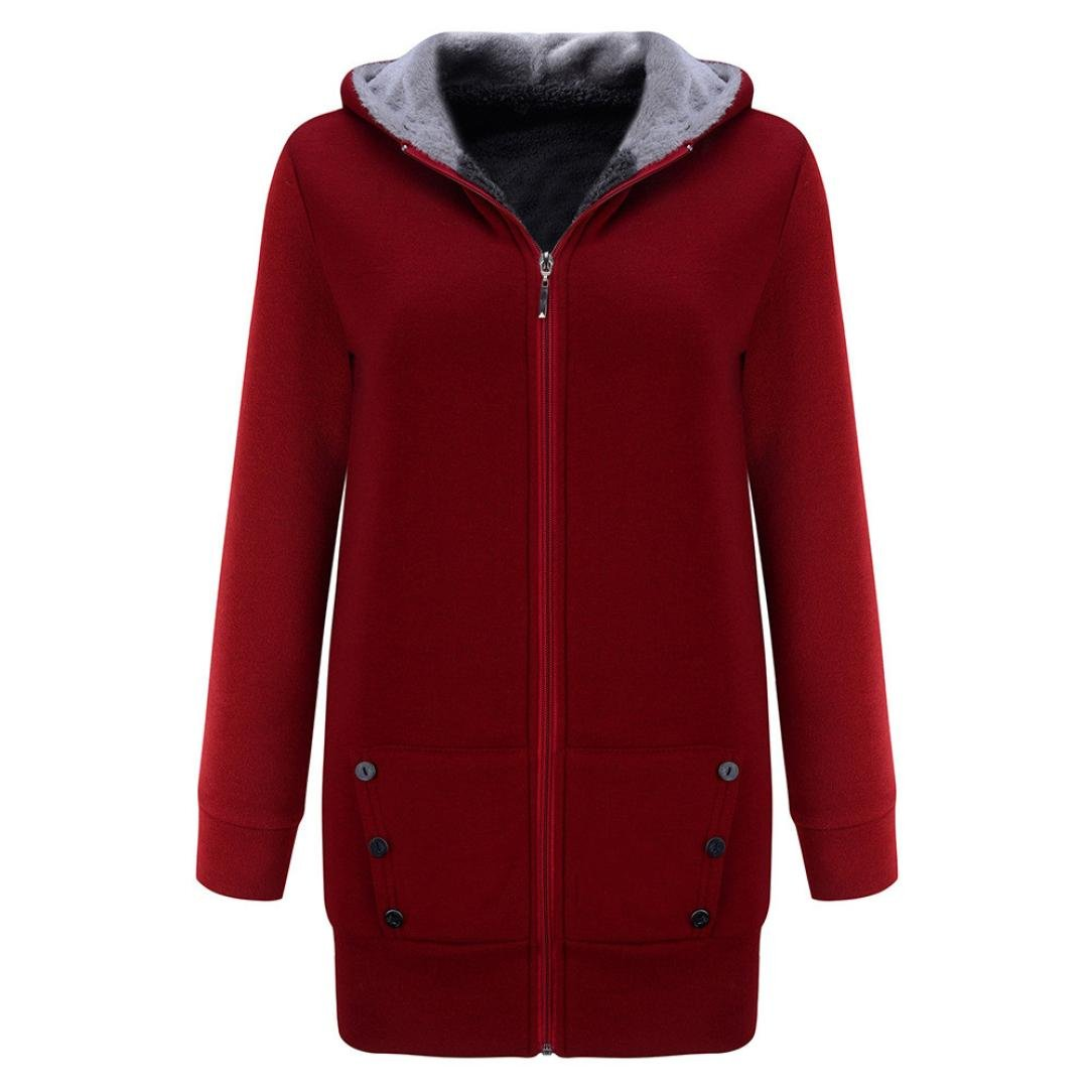 Anglewolf Women Warm Winter Velvet Plus Thicker Hooded Coat Long Jacket Outwear Hoodie Sweatshirt Fashion Lady Casual Pure Color Long Thick Cardigan Coat Overcoat