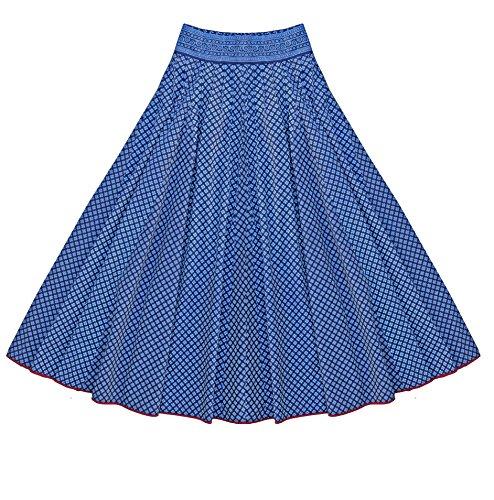 Ayurvastram AV Hand Block Printed Cotton Long and Wide Flare Skirt: Indigo: 5X