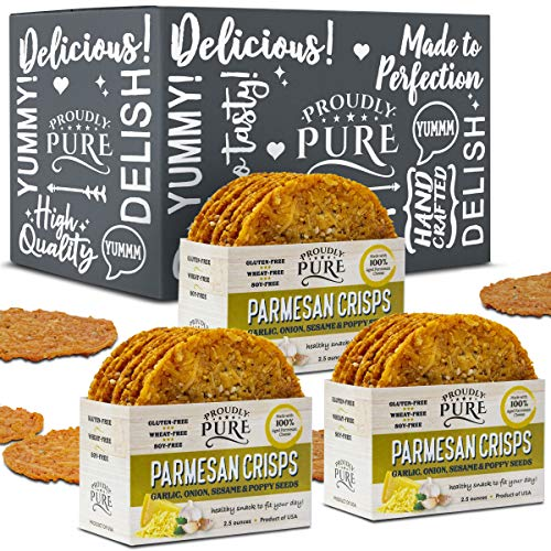 Proudly Pure Keto Friendly Parmesan Cheese Crisps Low Carb Snacks, Healthy Diet Food Crackers 100% Natural Aged Cheesy Parm Chips Crunchy Delicious Gluten/Wheat & Soy-Free (Onion/Poppy/Garlic, 3 Pack) ()