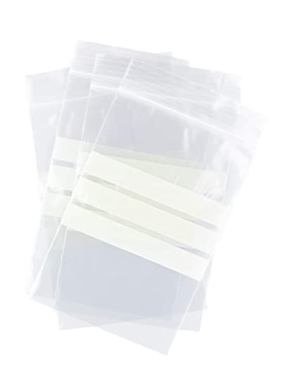 Bolsas autocierre con franjas para escritura 10 x 15 cm (100 Unidades)