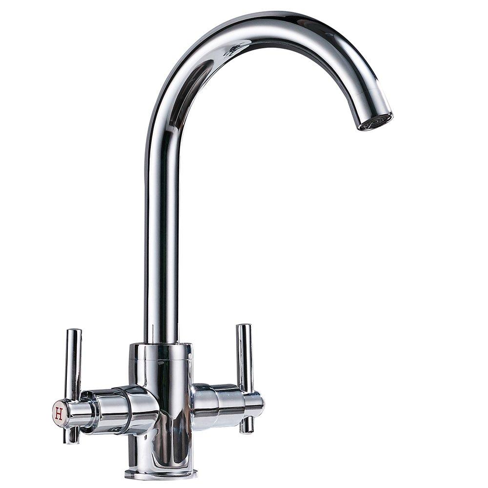 QRMH Doppel Doppel Open Chrome Küche Warm und Kalt Wasserhahn Küche Einlochmontage Sink Wasserhahn
