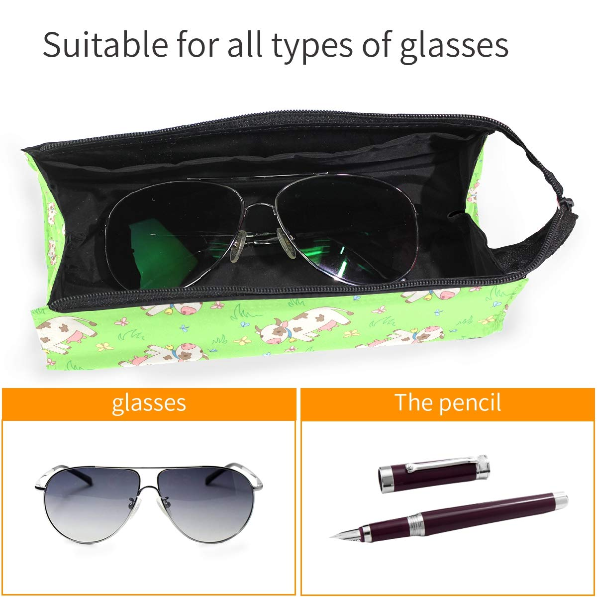 My Little Nest Eyeglass Sunglasses Holder Pouch Bag Cartoon Cows Multi Function Zipper Pen Case Pencil Bag Organizer
