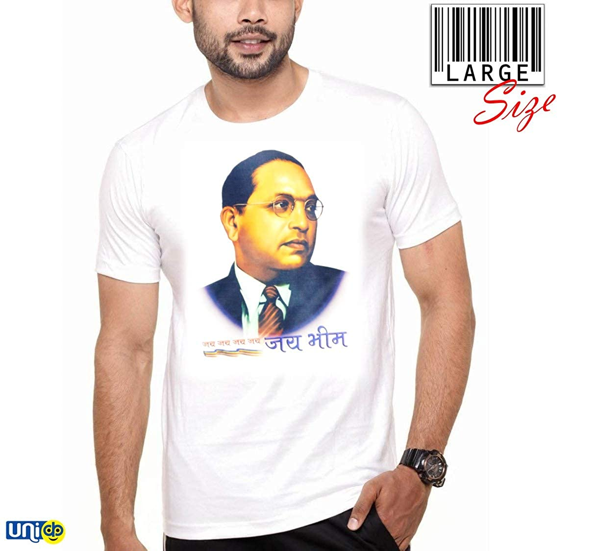 b824555bf UNIq Regular Fit Baba Saheb Ambedkar – Jai BHIM Printed Round Neck & Half  Sleeve White Poly Cotton T-Shirt for Boys/Men/Brother/Friends/Boy Friend on  ...
