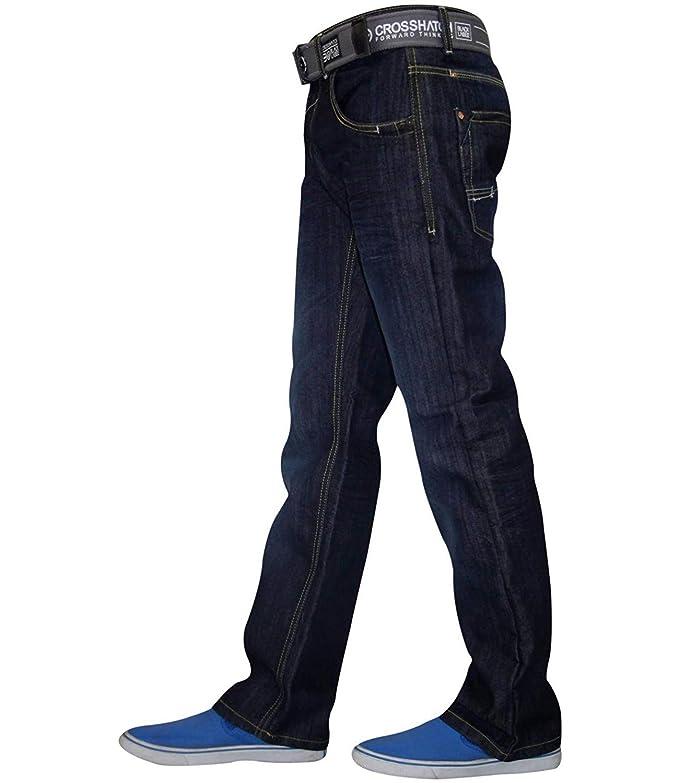 Pantalones vaqueros para hombre, con pierna recta: Amazon.es ...