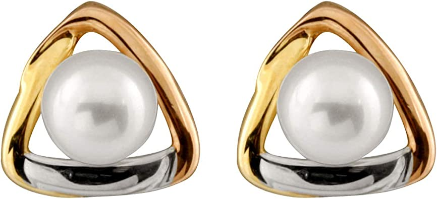 14K Yellow Gold 5-5.5mm Freshwater Cultured Pearls Stud Earrings 14K YG Safety Silicone Push Backs