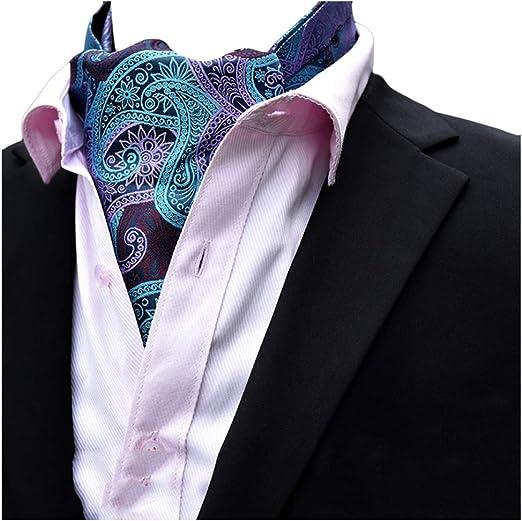 Gentleman Men/'s Ascot Cravats Paisley Silk Tie Black Jacquard Woven Suit Necktie