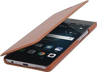 StilGut Book Type Case Senza Clip, Custodia Booklet a Libro Apertura Laterale in Vera Pelle per L'Originale Huawei P9 Plus, Cognac