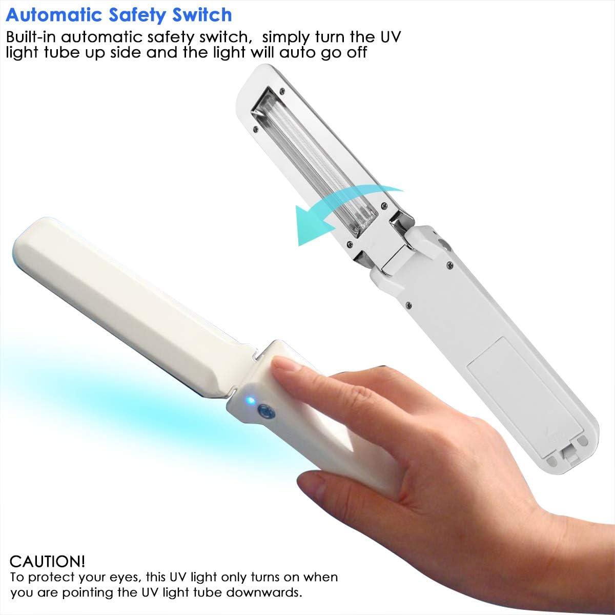 Camidy UVC Handheld Desinfektionslicht Reise Tragbare UV-Licht f/ür Hotelhaushalt B/üro im Freien