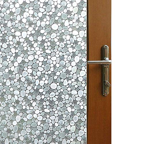 Vakker Bahay Self Adhesive Window Film 3D Static Cling Glass Film Light Filter Cobble Stone Window Film No Glue Privacy Reflect Window Covering Film for Home Office 17.7 x 78.7 Inches(45CM by 200CM)