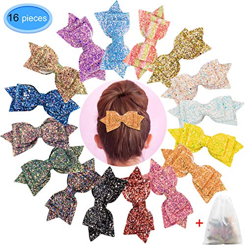 Glitter Girls Hair Bows 16 Pieces, EAONE 5 inch Sparkle Hair Bow Clips Sequins Boutique Hair Accessories Clip for Girls Toddlers Teens Women, 16 Colors