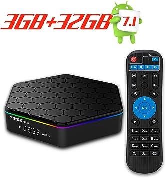 T95Z Plus Android 7.1 TV Box Amlogic S912 Smart Box Octa Core 3GB DDR3 32GB Emmc 2.4G/5Ghz WiFi 1000M LAN Ethernet 64Bit H.265 Bluetooth 4.0 DLNA UHD 4K: Amazon.es: Electrónica