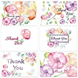 48 Floral Blank Thank You Cards w/Envelopes Wedding Watercolor Flower Note Card Baby Bridal Shower Anniversary 4 x 6 inch (6 style, 8 of each)