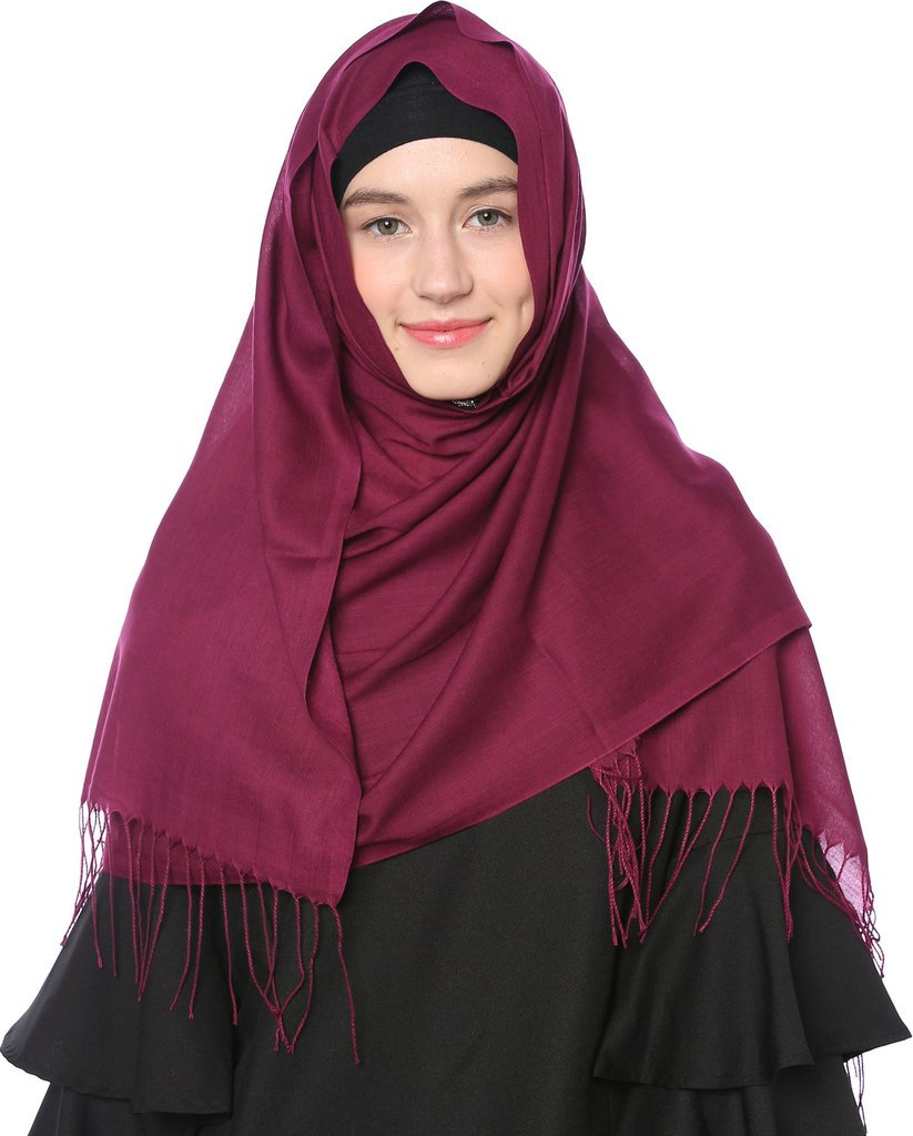 Ababalaya Women's Modest Muslim Solid Breathable Long Headscarf Hijab with Tassels 70×27inch,Dark Purple