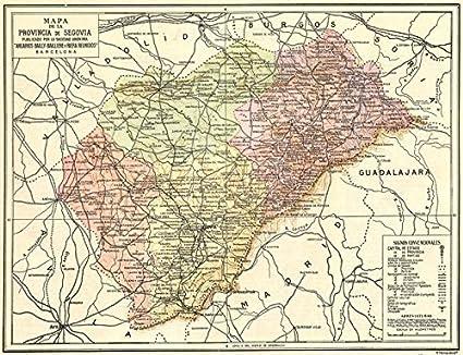 España. Mapa de la Provincia de Segovia – 1913 – Old Antiguo Mapa ...