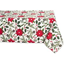 "DII 100% Cotton, Machine Washable, Dinner and Holiday Tablecloth - 60x104"" Seats 8 to 10 People, Woodland Christmas"