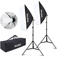Continuous Softbox Studio Light, 20″×28″ Photography Lighting Kit 2pcs E27 Socket 5500K 85W CFL Light Bulbs with Adjustable Lamp Stand and Portable Bag for Portraits Video Shooting by RALENO