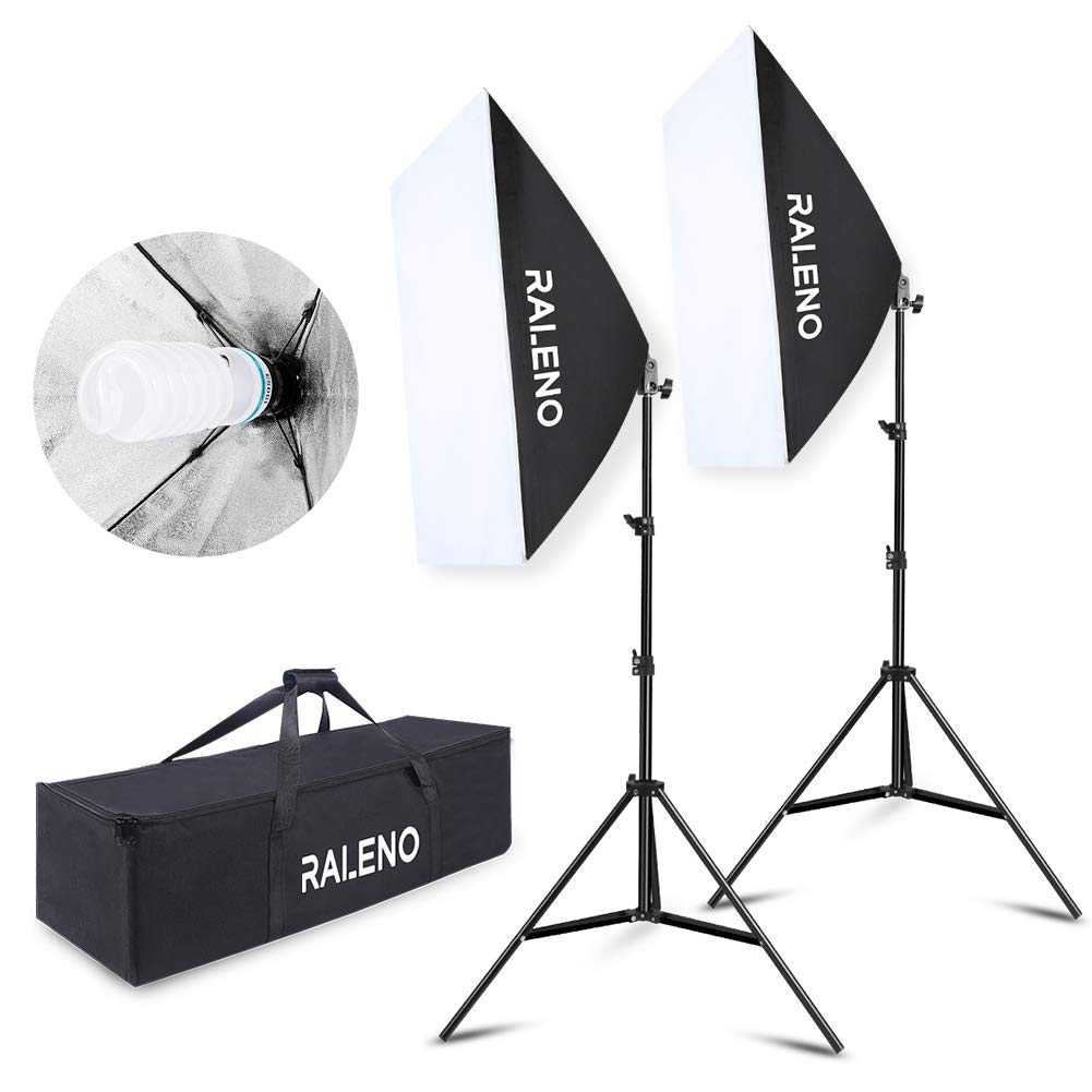 RALENO Softbox Photography Lighting Kit 2X20 X28 Photography Continuous Lighting System with 2pcs 5500K 85W E27 Socket Bulb Photo Model Portraits Shooting Box by RaLeno