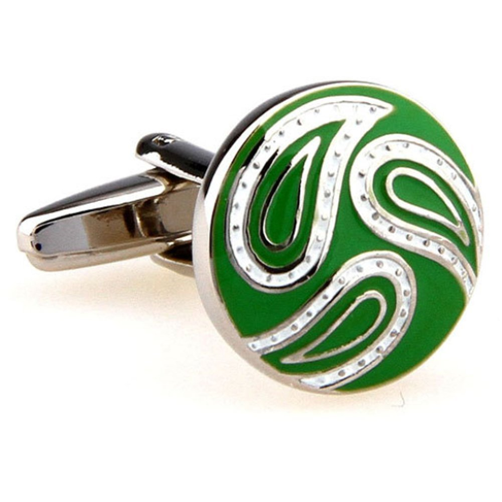 Williams and Clark Men's Executive Cufflinks Round Paisley Warm Summer Round Green and White Cufflinks
