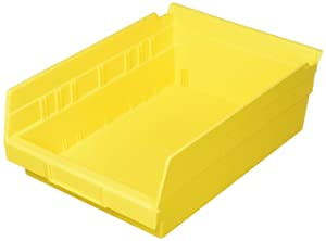 Akro-Mils 30150YELLO Plastic Nesting Shelf Bin Box, 12 x 8 x 4-Inch, Yellow, Case of 12