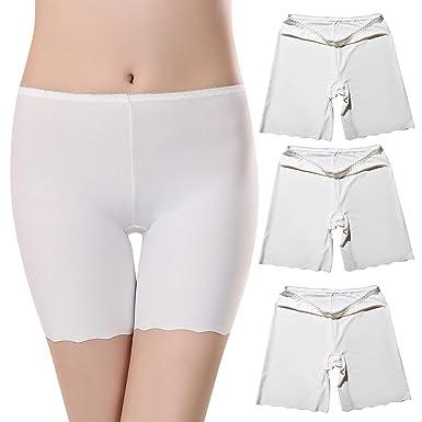 955a58929d94 UMIPUBO Bragas Algodon Mujer Seguridad Ropa Interior Seda de Hielo Boxer  Short Leggings Cortos Slipshort Pantalon Falda Leotardos de Pack de 3