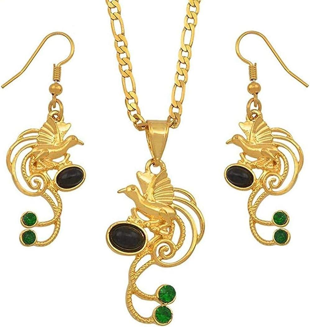 Yaoliangliang Papua Guinea Negro Perla Verde Piedra Pájaro Colgante Collar Pendientes Conjuntos Joyería étnica Regalos de Fiesta Longitud 60Cm por 3Mm