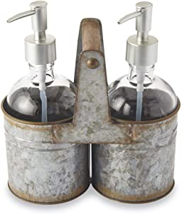 Mud Pie Rustic Tin Soap Caddy Set of 3
