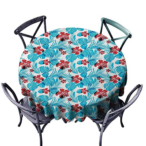 VIVIDX Stain Round Tablecloth,Luau,Palm Tree Leaves with Hibiscus Petals Traditional Icons of Exotic Beach Illustration,High-end Durable Creative Home,50 INCH,Blue Red