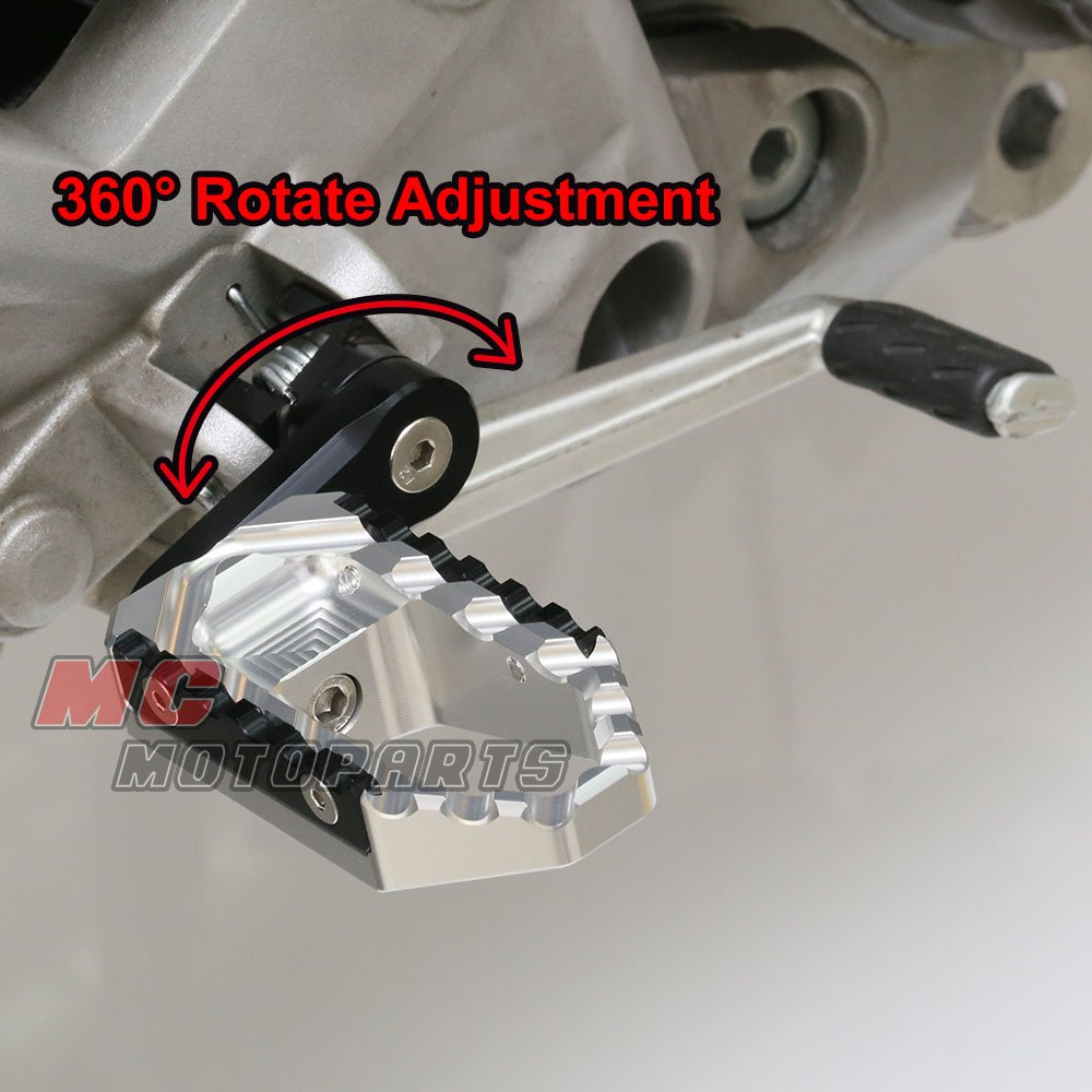 Silver CNC 40mm Adjustable Riser Front Touring Foot Pegs For Ducati SuperSport 1000DS All Year by MC Motoparts (Image #4)