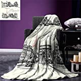 smallbeefly Paris Decor Custom Design Cozy Flannel Blanket Arch of Triumph Restaurant Monument Old Fashioned Paris Street Sketch Style Art Lightweight Blanket Extra Big