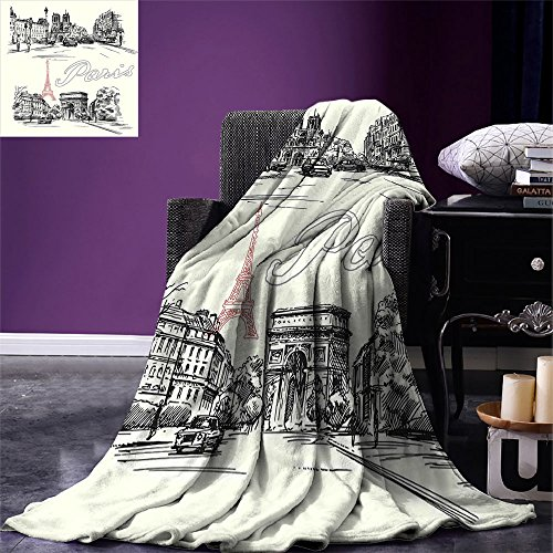 smallbeefly Paris Decor Lightweight Blanket Arch of Triumph Restaurant Monument Old Fashioned Paris Street Sketch Style Art Digital Printing Blanket by smallbeefly